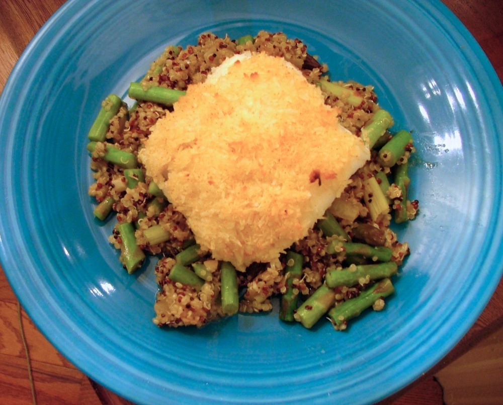 Coconut Crusted Cod with Asparagus Quinoa