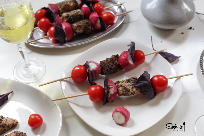 Chicken Tomato Basil Salad Skewer