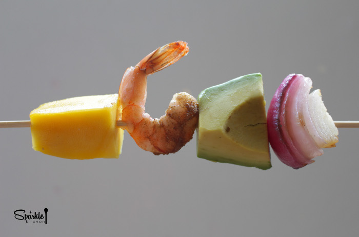 Shrimp Avocado Mango Salad Skewer