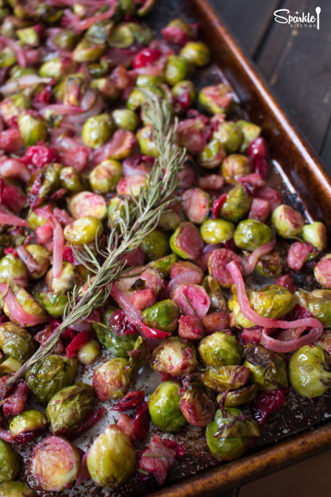roasted brussels sprouts with cranberries & pancetta