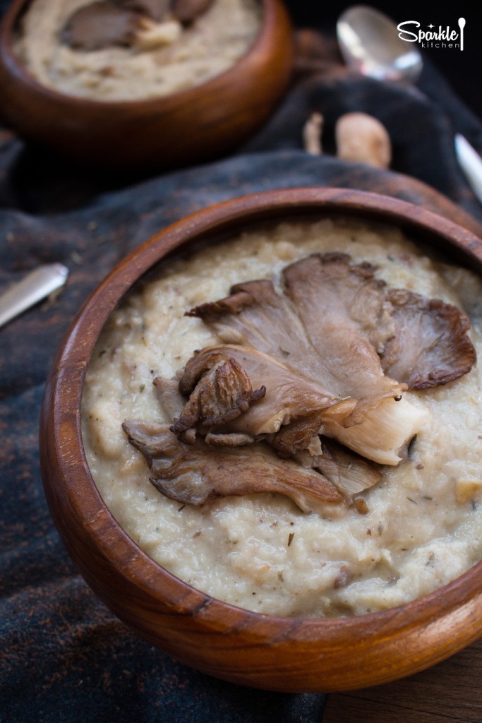 Roasted Parsnip Soup with Oyster Mushrooms