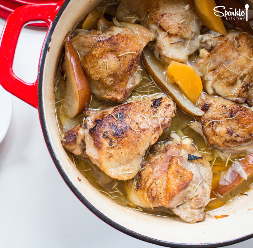 One Pot Chicken with Pears & Turnips
