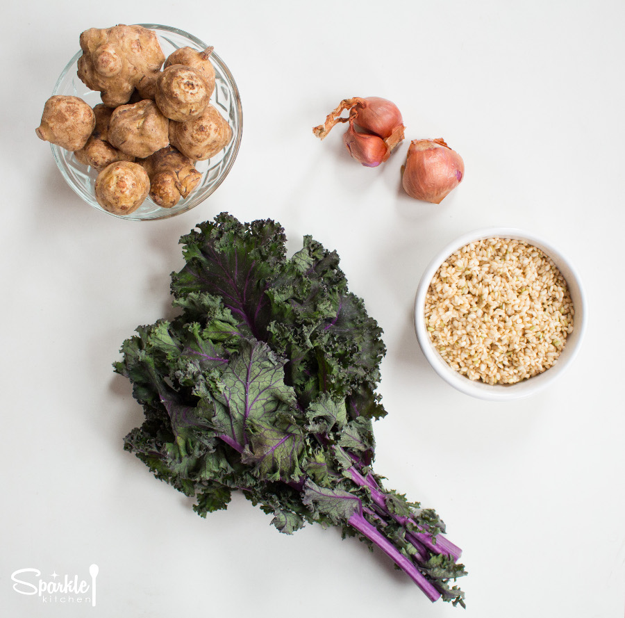 Jerusalem Artichokes and Braised Kale Rice Pilaf