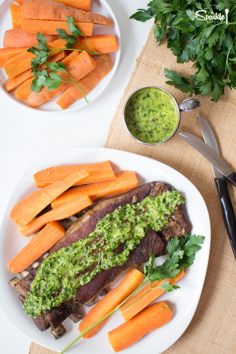 Roasted Lamb Riblets with Chimichurri Sauce