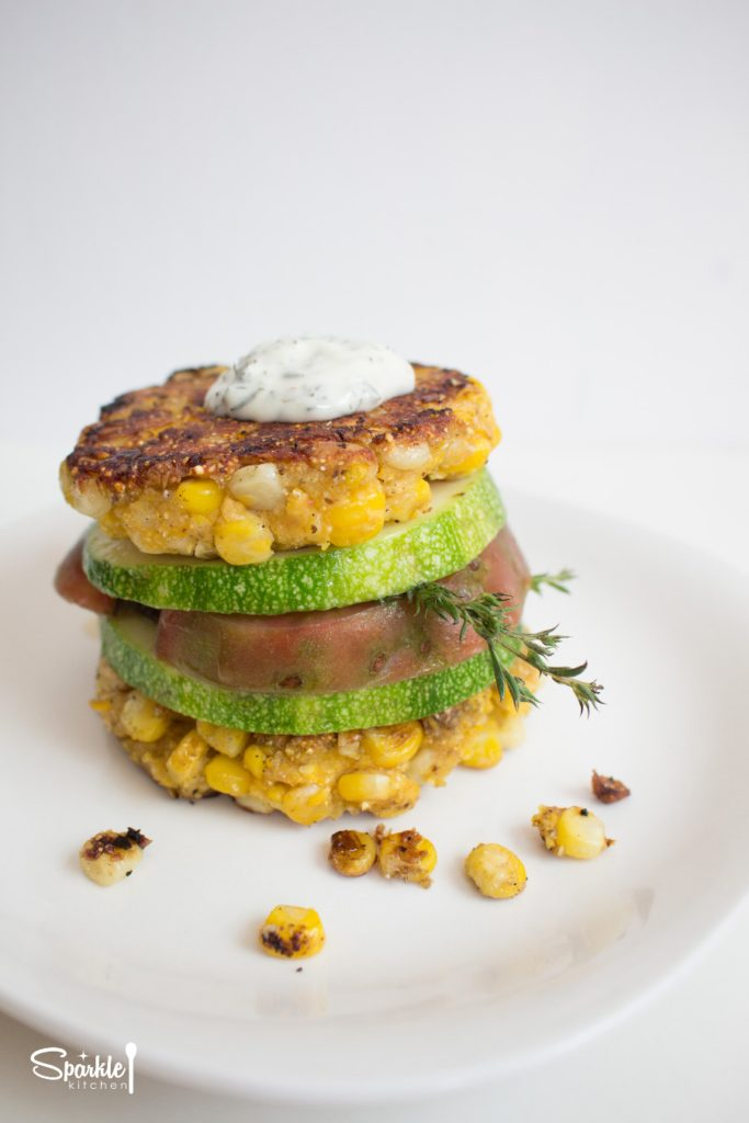 Corn Fritter Salad Stack with Tomato & Zucchini