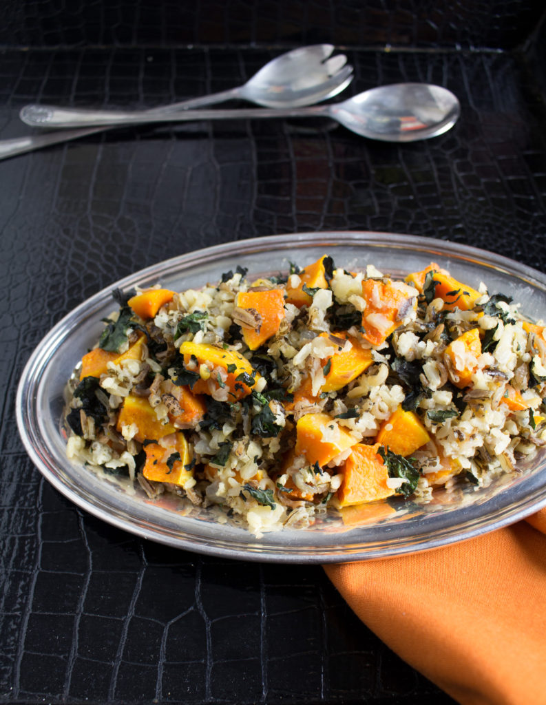 Roasted Butternut Squash Wild Rice with Crispy Chard